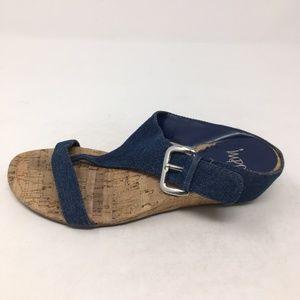IMPO BLUE SLIP ON WEDGE SANDALS 7.5M